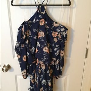 Other - Floral romper with cold (bare) shoulders.